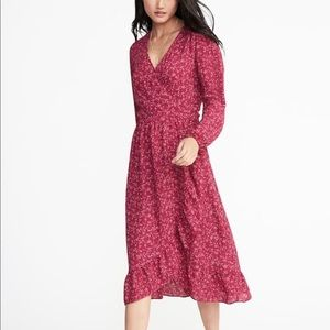 Old Navy Pink Purple Floral Printed Ruffled Dress